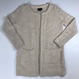 Lumiere cardigan tunic sweater cream fuzzy medium